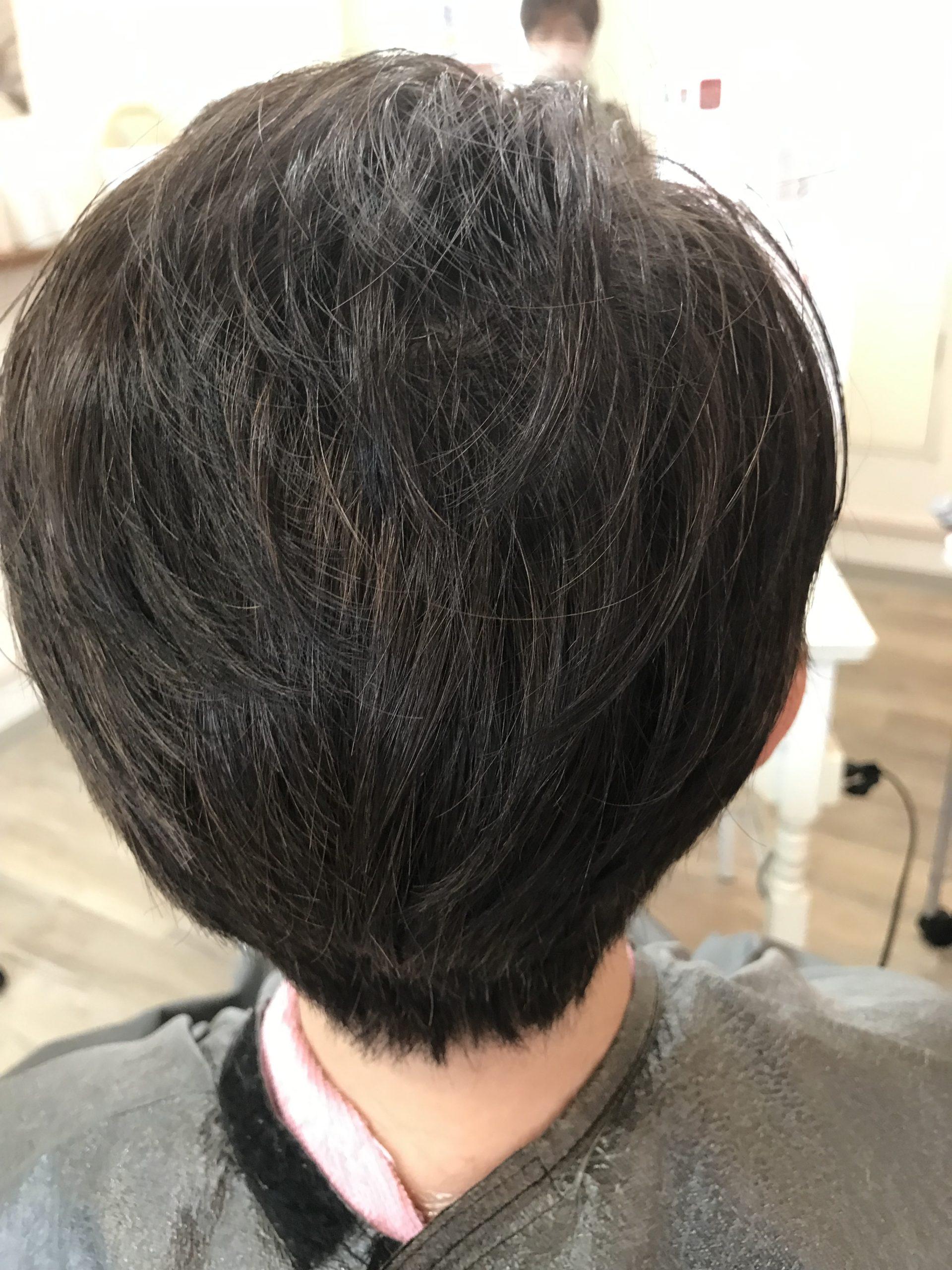 髪の傷まない白髪染めとトップのボリュームにエンジェリックケアでフンワリ